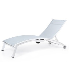 Stacking Chaise Lounge with Wheels  and Attached Side Tray (arched seat)<br>NV 7190WAL