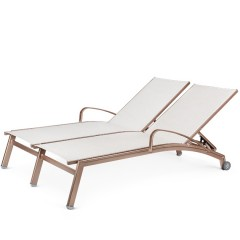 Double Chaise Lounge with Arms and Wheels  (straight seat)<br>NV 7191-46WS