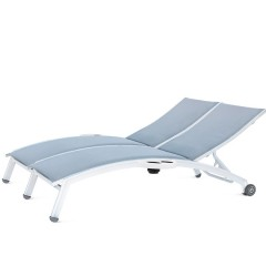 PINECREST Double Chaise Lounge with Wheels and Side Tray NV-8190-46WA-RL