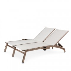 Double Chaise Lounge with Side Trays (straight seat)<br>NV 7190-46S R/L