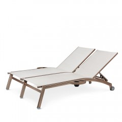 Double Chaise Lounge with Wheels  And Side Trays  (straight seat)<br>NV 7190-46WS R/L