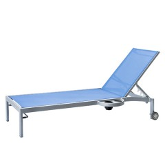 Bleau G2 Stacking Chaise Lounge with Wheels and  Left Or Right Side Tray BL2 7165WL/ BL2 7165WR