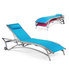 Stacking Chaise Lounge With Wheels Adjustable Back MU 7190