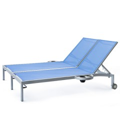 Bleau G2 Double Chaise Lounge with  Wheels Left And right side trays BL2 7165-46WR/L