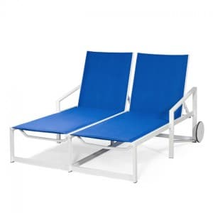 Double Chaise Lounge with Wheels  TZ 8090-46W